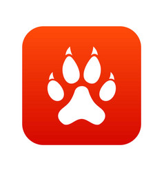 cat paw icon digital red vector image vector image