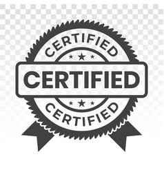 Certified stamp label flat icon for apps vector