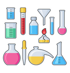 chemistry science laboratory test glass tube and vector image