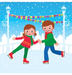 Children are skating on the ice rink vector image