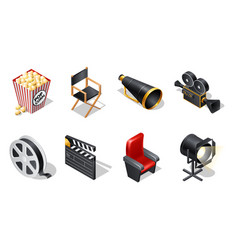 Cinema isometric icons with shadow vector