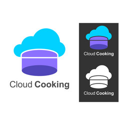 cloud cooking logo with cloud icon and chef hat vector image