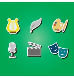 color icons with symbols of art vector image