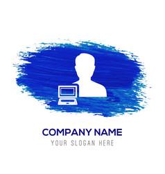 Computer user icon - blue watercolor background vector