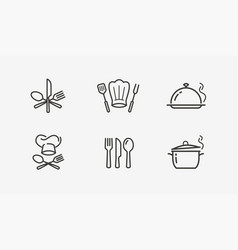 cooking icon set culinary restaurant vector image