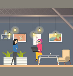 coworking in informal open space modern office vector image