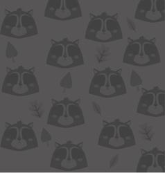 cute raccoon head pattern background image vector image