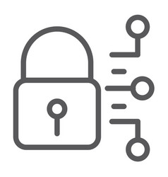 cyber security line icon protection and security vector image