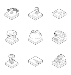 Disaster icons set outline style vector image