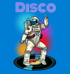 Disco astronaut dances vector