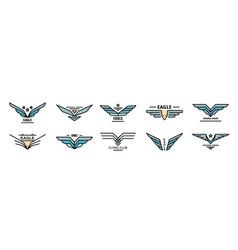 Eagle logo flat vector