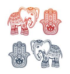 Ethnic elephant and hamsa hand ornaments vector