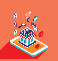 Flat 3d isometric design mobile payment online vector