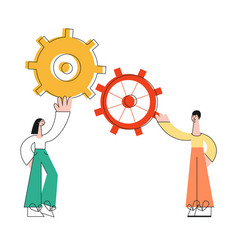 flat business man woman with gears vector image