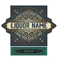 full liquor label design with front and back sides vector image