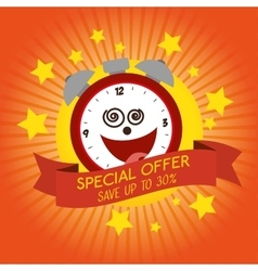 Funny clock special offer discount vector