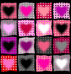 Geometric hearts pattern vector