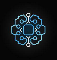 geometric smart brain with chip blue vector image