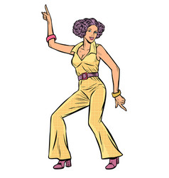 Girl in pantsuit woman disco dance isolate on vector