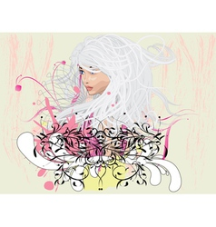 Girl with florals vector image