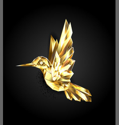gold polygonal hummingbird vector image