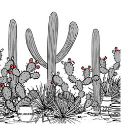 Hand drawn seamless pattern with jars saguaro vector