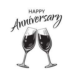 happy anniversary card text and two sparkling vector image