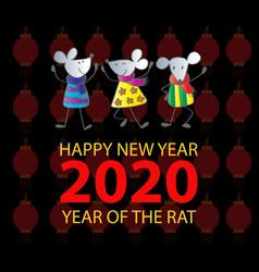happy rats symbol 2020 year greeting card vector image