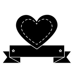 Heart love card with ribbon vector