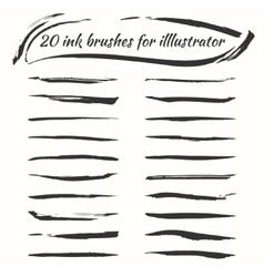 ink brushes set Grunge brush strokes vector image