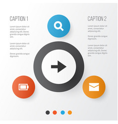 Interface icons set collection letter ahead vector