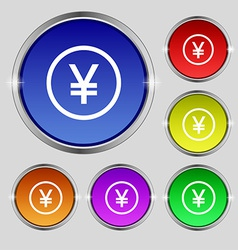 Japanese Yuan icon sign Round symbol on bright vector