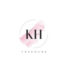Kh k h watercolor letter logo design vector