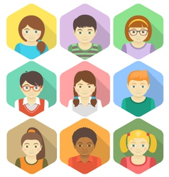 Kids Avatars in Hexagons vector image