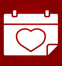lovely calendar glyph icon valentines day vector image