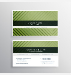 Modern green business card with line pattern vector