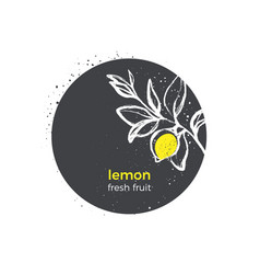 nature logo lemon yellow fruit hand drawn sticker vector image