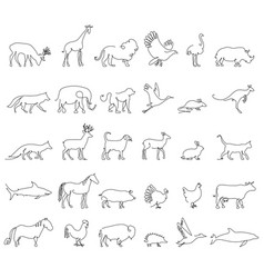 One line animals set logos stock vector