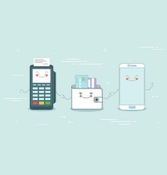 online payment concept in line art style vector image