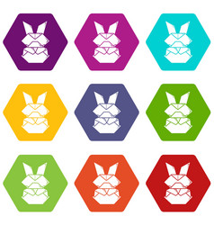 origami bunny icons set 9 vector image