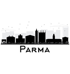 Parma City skyline black and white silhouette vector