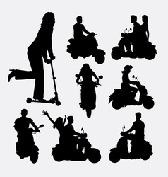 People riding scooter silhouettes vector