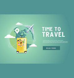 plane flying around world with yellow luggage vector image