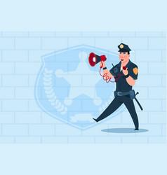 Policeman hold megaphone wearing uniform cop guard vector