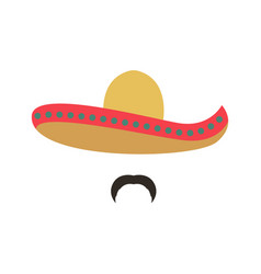 portrait of a mexican man in sombrero man icon vector image