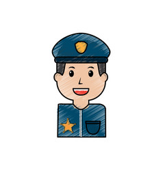 portrait policeman smiling with hat uniform vector image