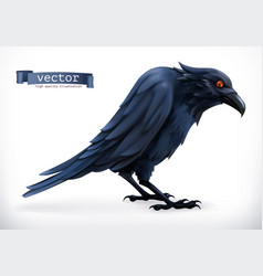 Raven happy halloween 3d icon vector