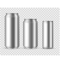 Realistic aluminum cans blank metallic can drink vector