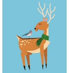 Reindeer and bird cartoon of christmas design vector