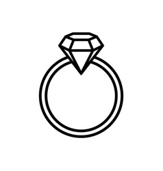 Ring with gemstone diamond - line icon graphic vector